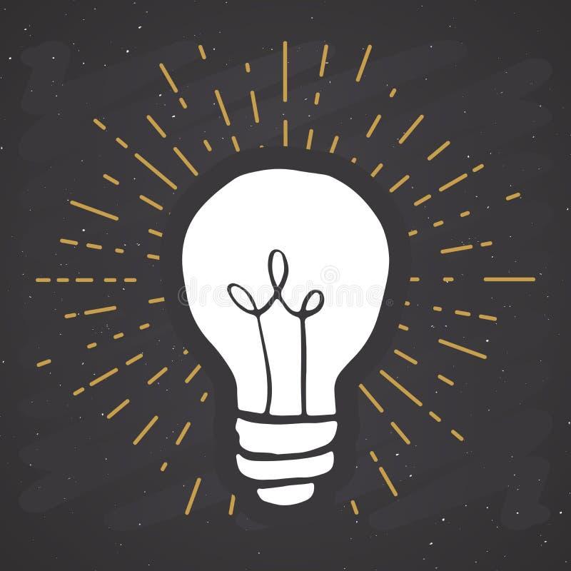 Label de cru de symbole d'ampoule, insigne texturisé de grunge rétro, illustration de vecteur de conception de typographie illustration stock