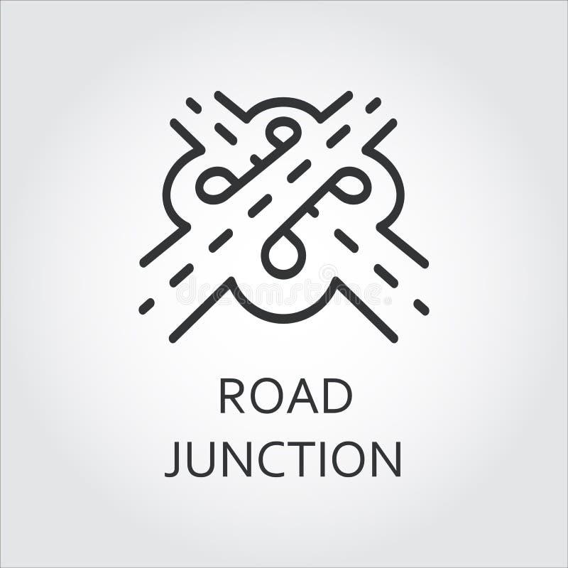 Label de jonction de route, icône dessinée dans le style d'ensemble illustration libre de droits