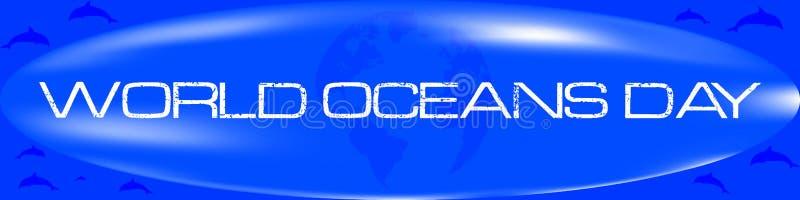 Label de jour d'océans du monde illustration stock