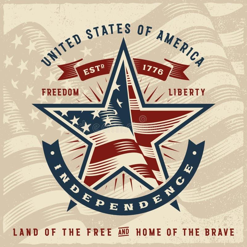 Label de l'indépendance des Etats-Unis de vintage illustration stock