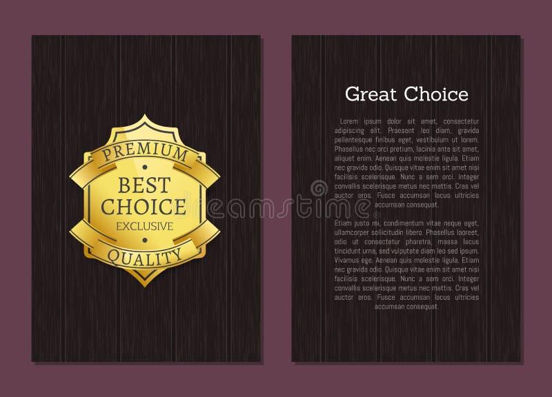 Label de la meilleure qualité exclusif d'or de qualité de grand choix illustration stock