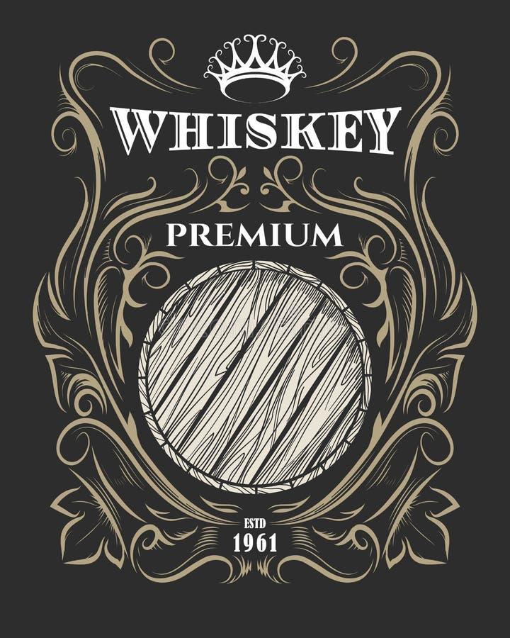 Label de la meilleure qualité de whiskey avec le baril et la couronne illustration libre de droits