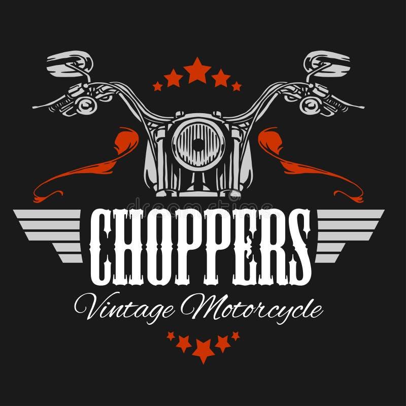 Label de moto de vintage, rétro vélo de couperet illustration libre de droits