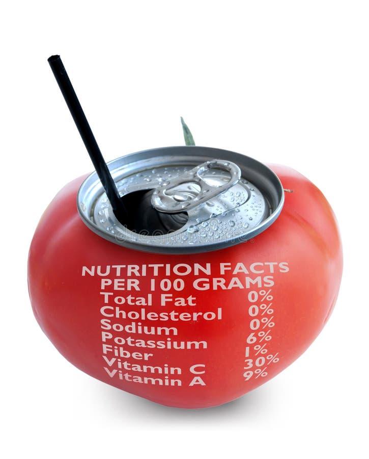 Label de nutrition de jus de tomates images stock
