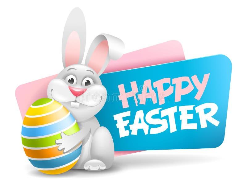 Label de Pâques avec le lapin drôle illustration libre de droits
