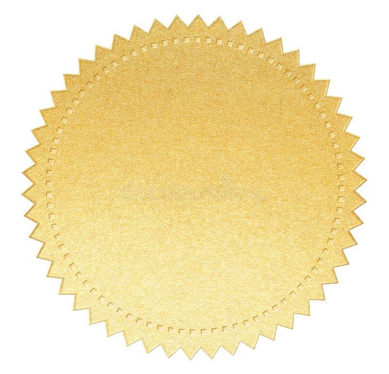 Label de papier de joint d'or avec le chemin de coupure d'isolement image stock
