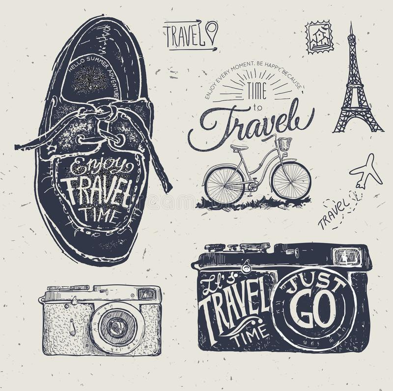 Label de photo de voyage avec le rétro appareil-photo illustration stock