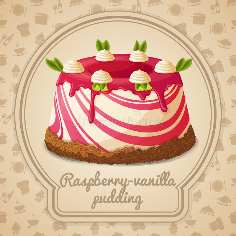 Label de pudding de vanille de framboise illustration stock