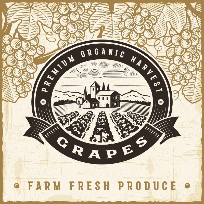 Label de récolte de raisins de vintage illustration libre de droits