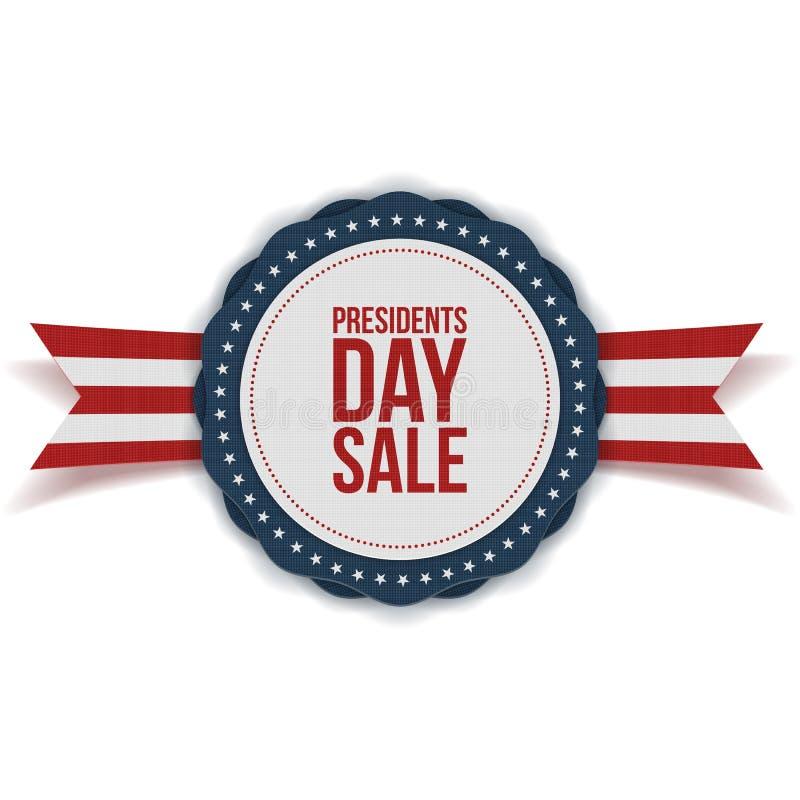 Label de remise des Présidents Day Sale avec le ruban illustration stock