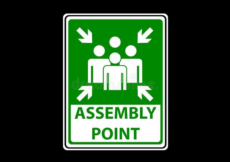 Label de signes de secteur de point d'Assemblée pour l'urgence image libre de droits