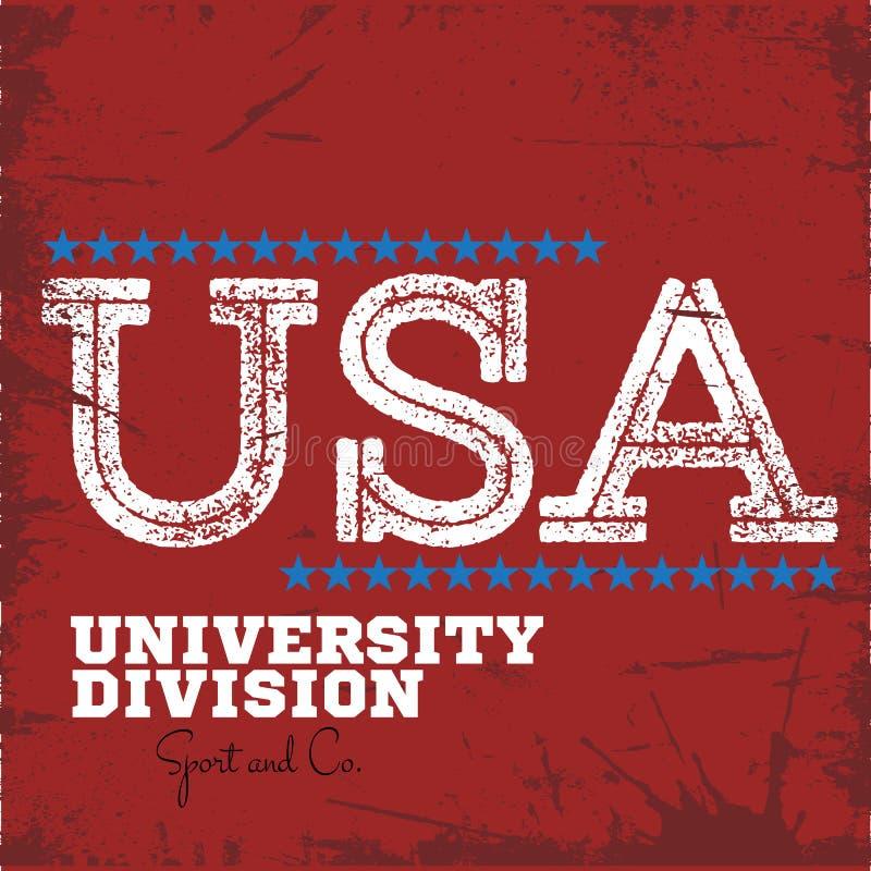 Label de sport collectif de division d'université d'université de fac illustration stock