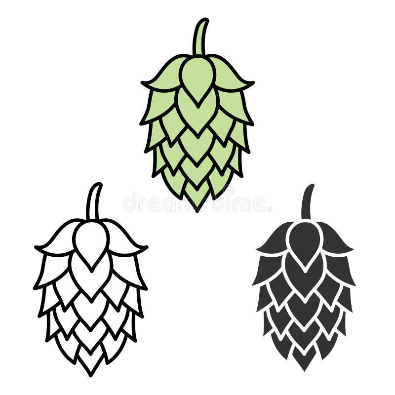 Label de symbole de signe de bière d'houblon illustration libre de droits