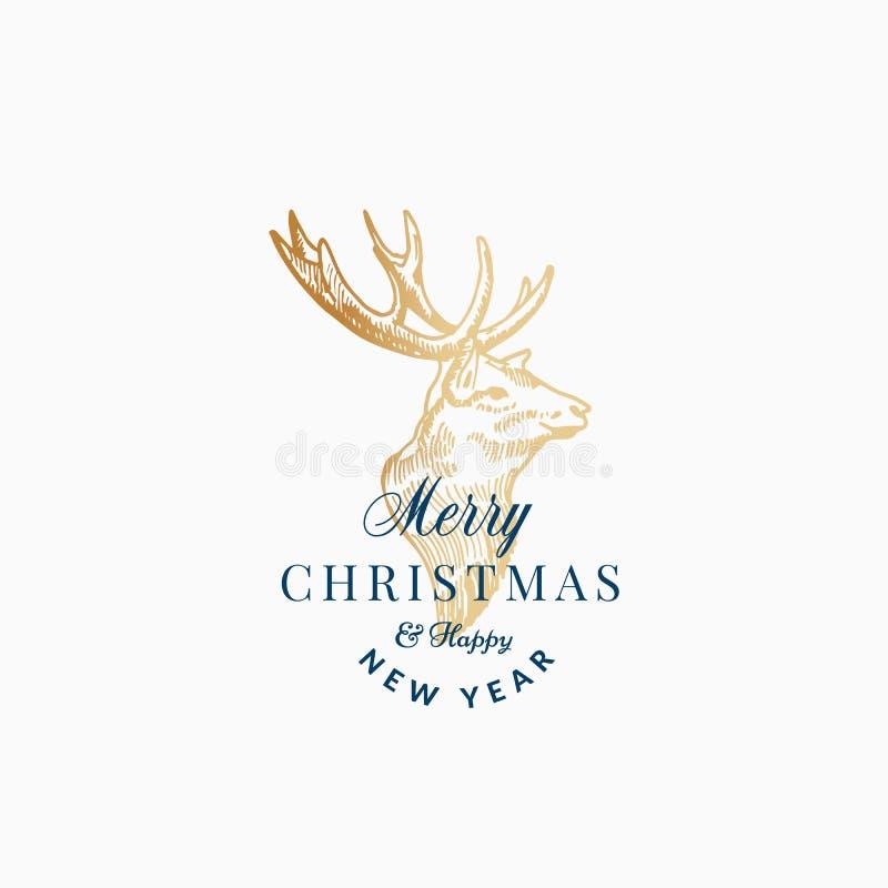 Label de vecteur d'abrégé sur Joyeux Noël rétro, signe ou calibre de carte Croquis principal d'or tiré par la main de renne ou de illustration de vecteur