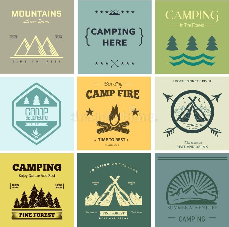 Label de vecteur de camp illustration stock