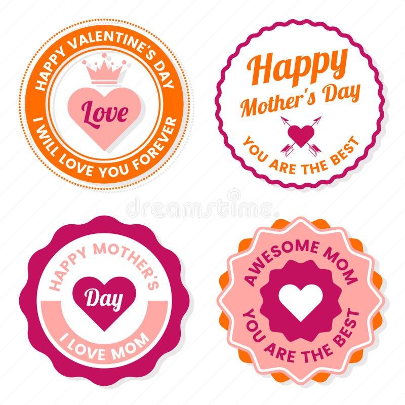 Label de vecteur de fête des mères pour la bannière illustration libre de droits