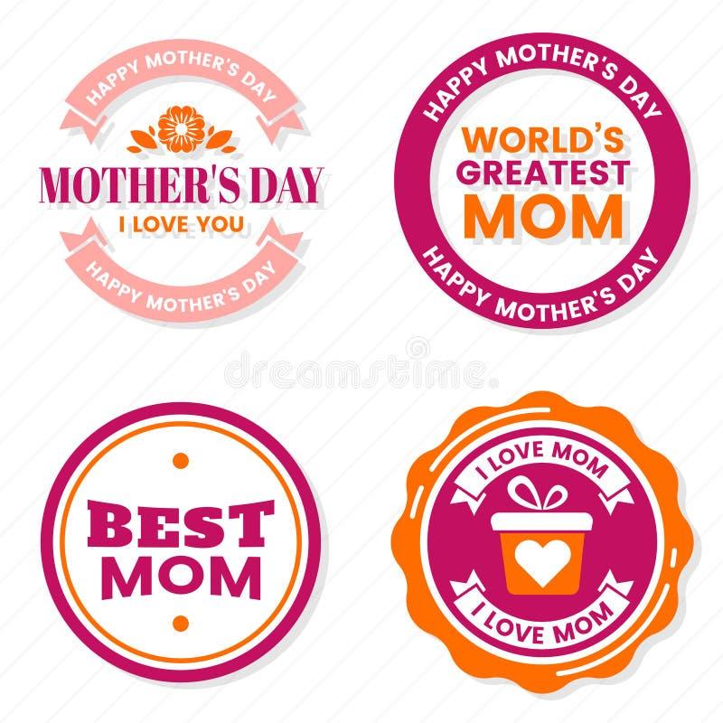 Label de vecteur de fête des mères pour la bannière illustration stock