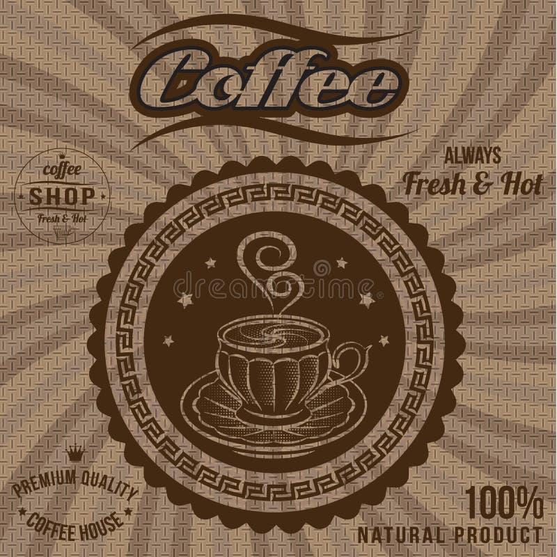 Label de vecteur pour le café sur renvoyer illustration de vecteur