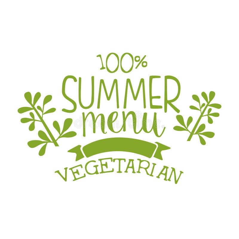 Label de vert de menu d'été, illustration de vecteur illustration libre de droits