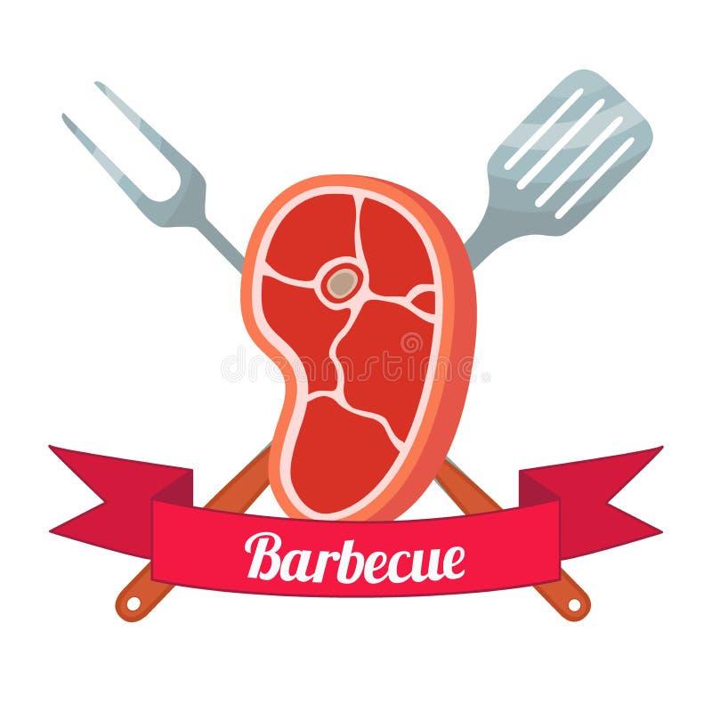 Label de viande fraîche Porc, jambon, fourchette de barbecue, spatule Style plat illustration de vecteur