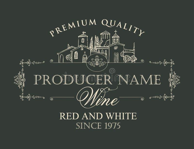 Label de vin avec le dessin de découpe du village illustration libre de droits