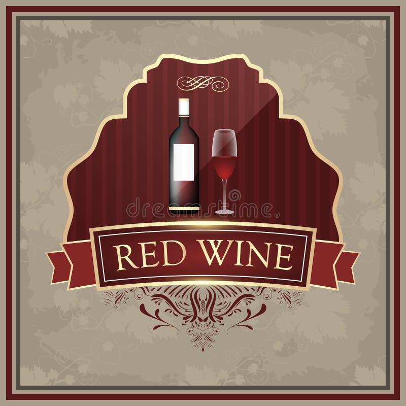 Label de vin rouge avec la bouteille et les verres sur le papier de vintage illustration stock