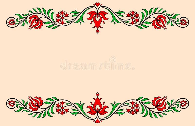 Label de vintage avec des motifs floraux hongrois traditionnels illustration de vecteur