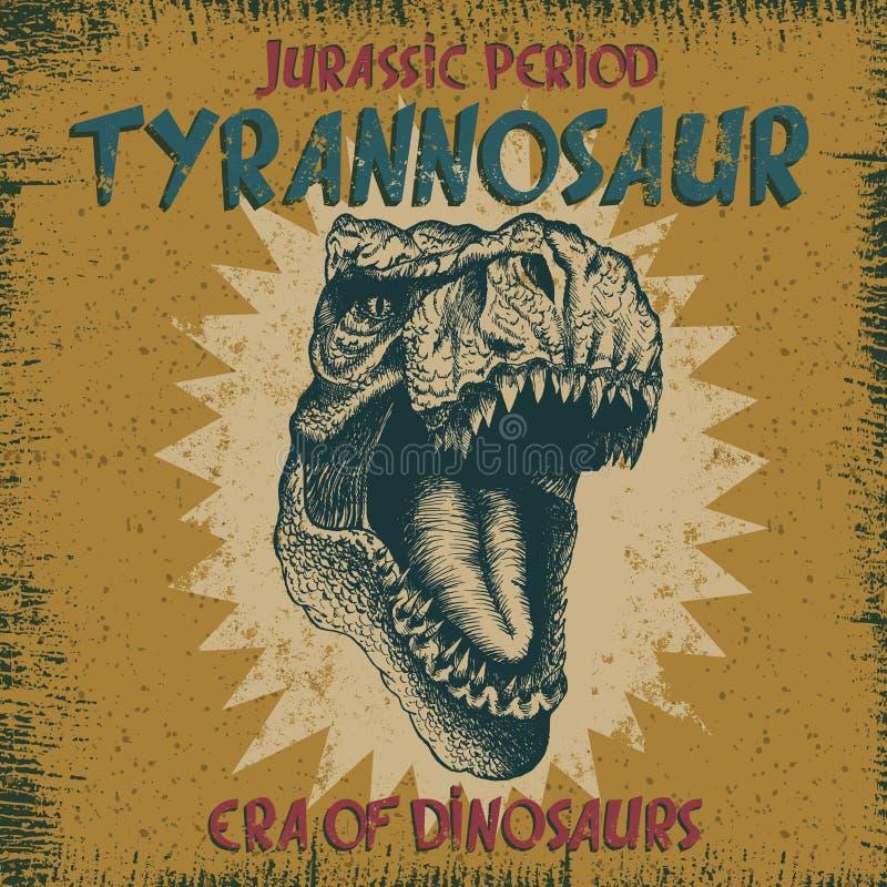 Label de vintage avec le dinosaure illustration de vecteur