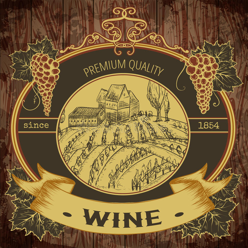Label de vintage avec le vignoble et groupe de raisins sur le fond en bois illustration stock