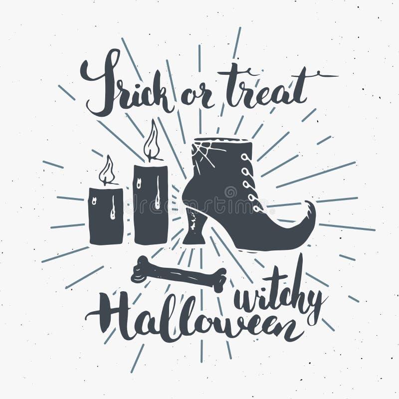 Label de vintage de carte de voeux de Halloween, articles tirés par la main de sorcière de croquis, rétro insigne texturisé grung illustration stock