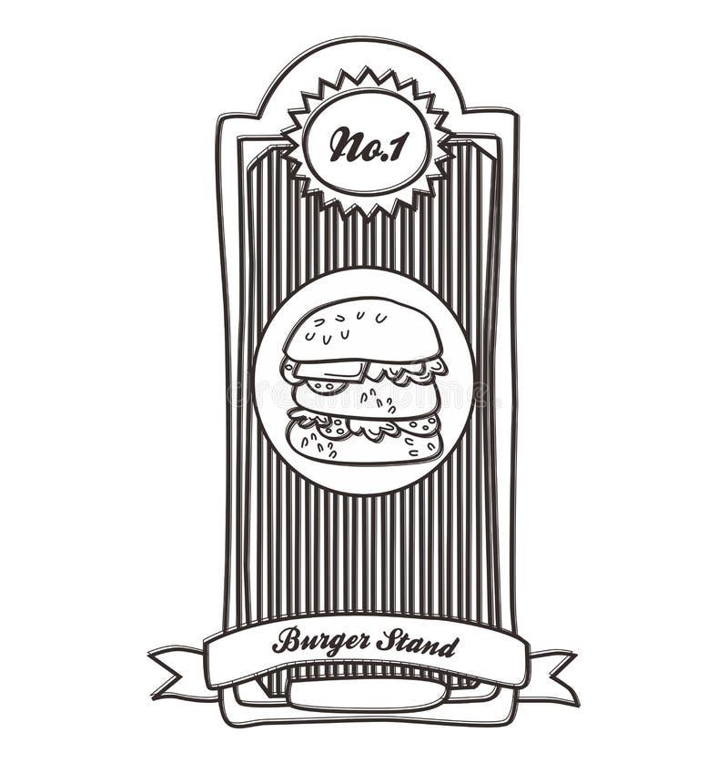 Label de vintage d'hamburger illustration de vecteur