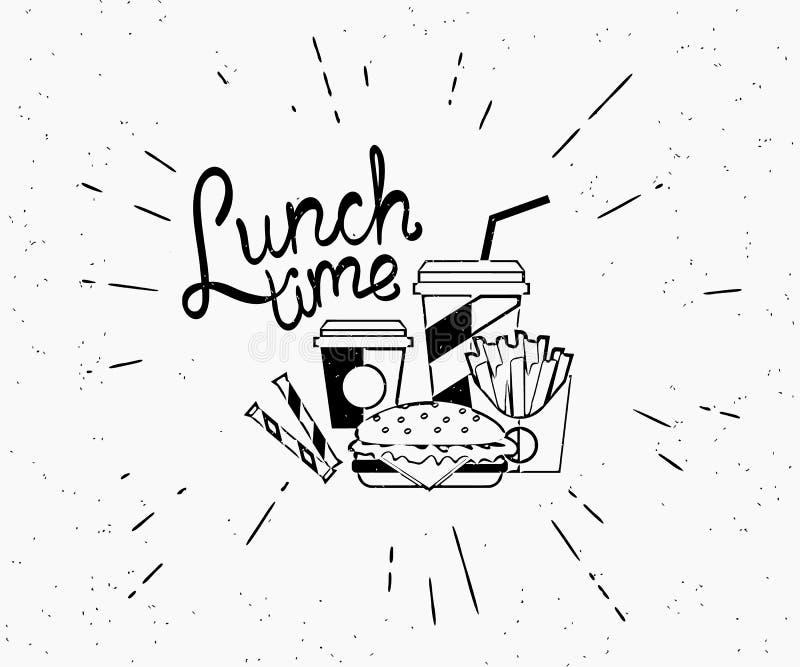 Label de vintage de temps de déjeuner d'hamburger avec du café et des pommes frites dans le style de hippie illustration stock