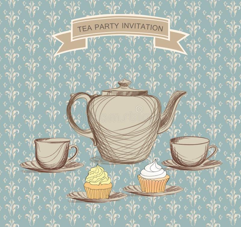 Label de vintage de temps de thé. Illustration de victorian de vecteur illustration stock