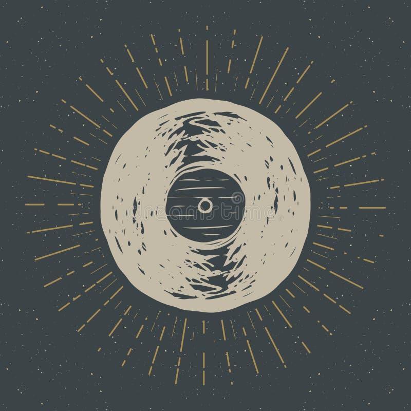 Label de vintage de disque vinyle, croquis tiré par la main, rétro insigne texturisé grunge, copie de T-shirt de conception de ty illustration libre de droits