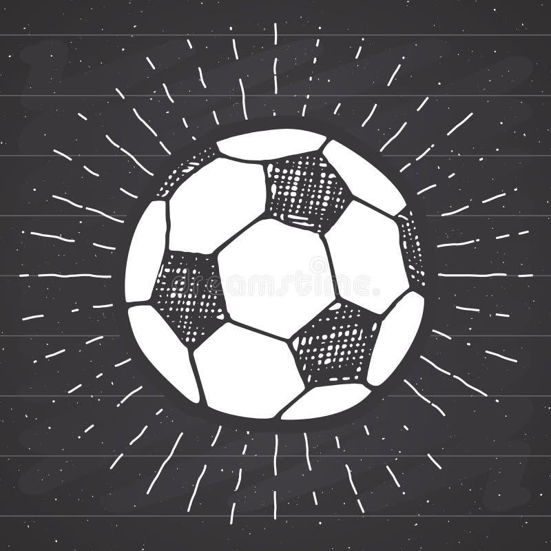 Label de vintage, le football tiré par la main, croquis de ballon de football, rétro insigne texturisé grunge, copie de T-shirt d illustration libre de droits