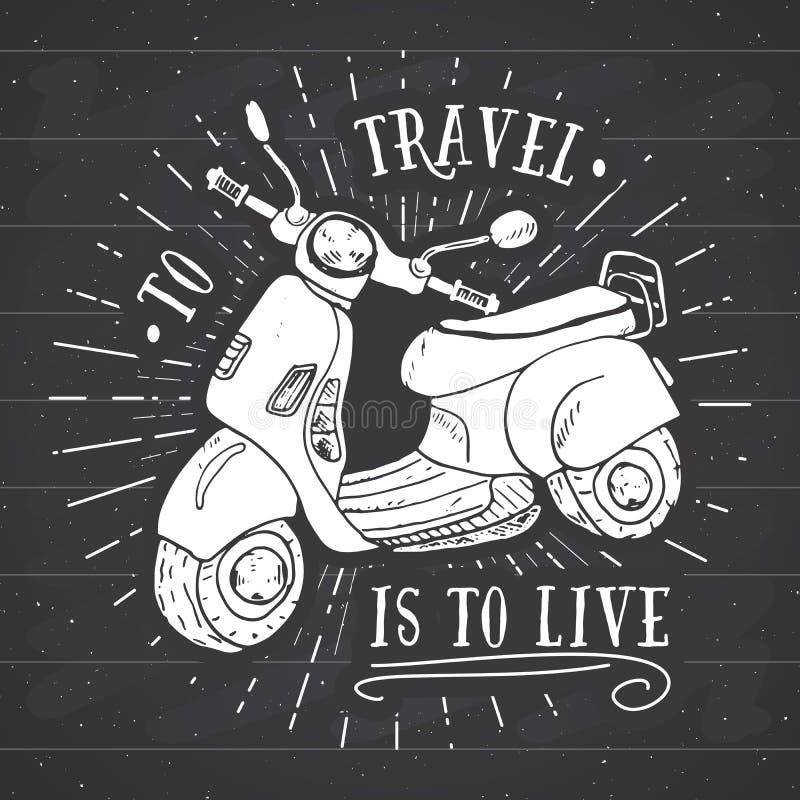Label de vintage de motocyclette de scooter, croquis tiré par la main, rétro insigne texturisé grunge, copie de T-shirt de concep illustration libre de droits