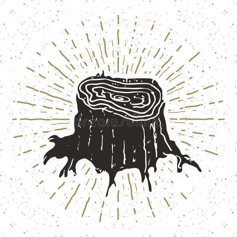 Label de vintage de tronçon d'arbre, croquis tiré par la main, rétro insigne texturisé grunge, copie de T-shirt de conception de  illustration libre de droits