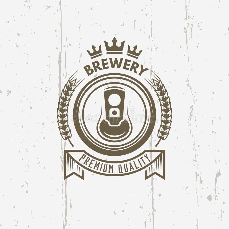 Label de vintage de vecteur de brasserie avec la canette de bière illustration stock