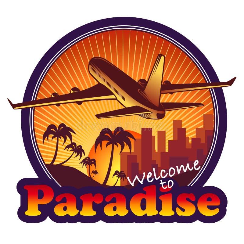 Label de voyage de paradis illustration stock