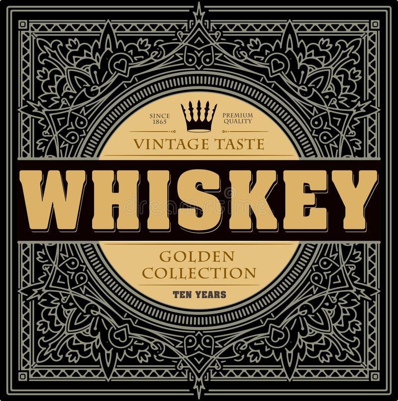 Label de whiskey de vintage avec l'ornement et la couronne tirés par la main illustration stock