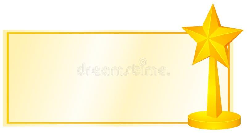 Label design with golden star. Illustration stock illustration