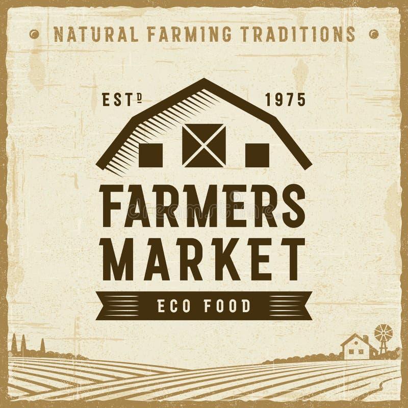 Label du marché d'agriculteurs de vintage illustration libre de droits