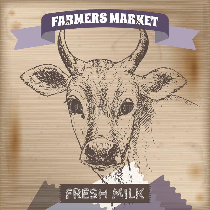 Label du marché d'agriculteurs de vintage avec la vache à lait illustration de vecteur