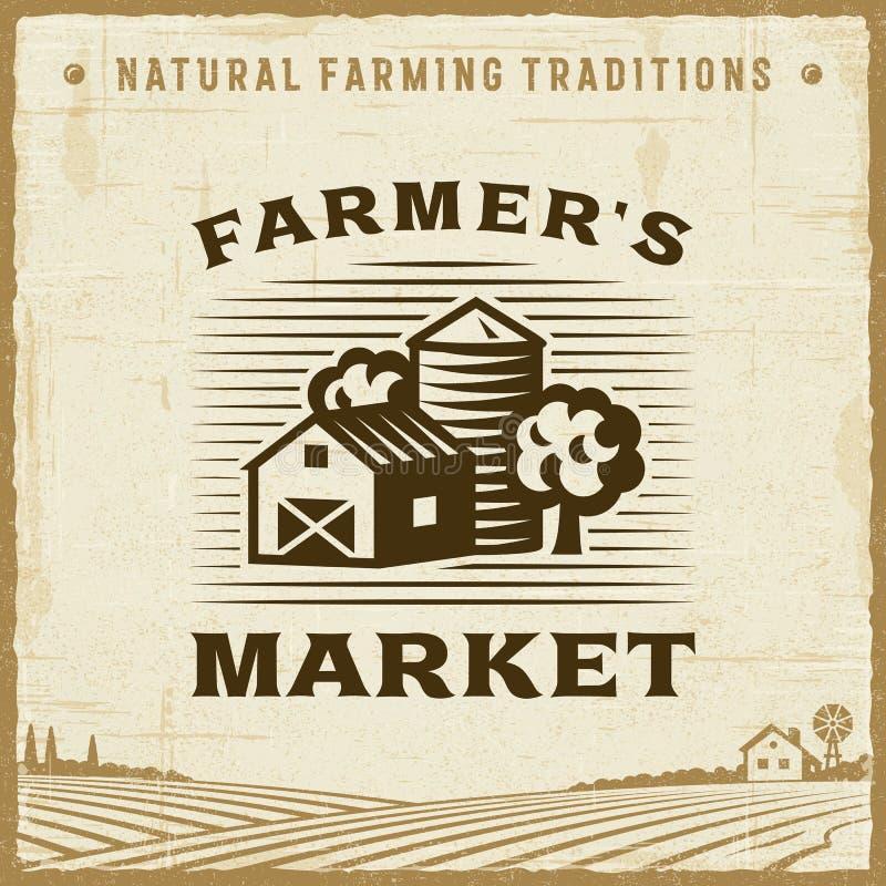 Label du marché de Farmer's de vintage illustration stock