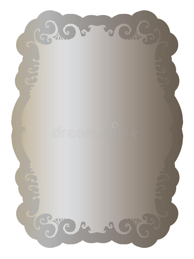 Label with elegant clean ornament old silver vector illustration