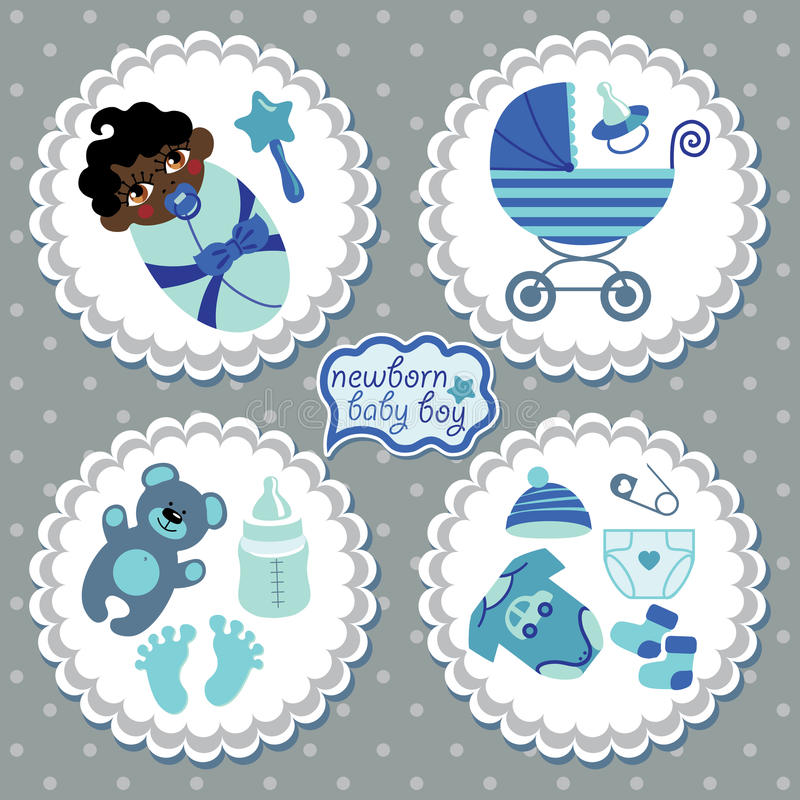 Label with elements for mulatto newborn baby boy stock illustration