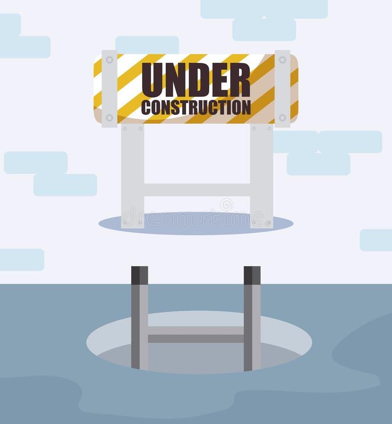 Label en construction avec la barrière de barricade illustration de vecteur