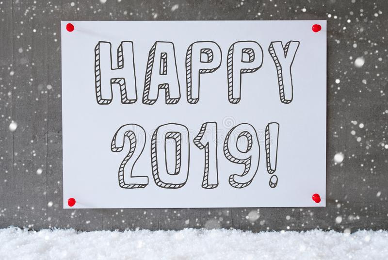 Label On Cement Wall, Snowflakes, Text Happy 2019 royalty free stock images