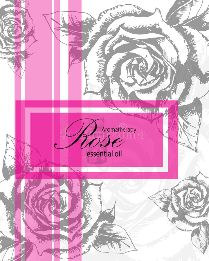 Label for essential oil of rose. With hand drawn leaves