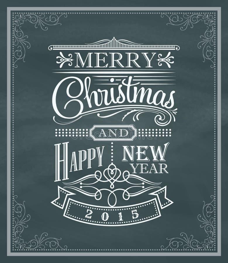 Label et cadre de vintage de nouvelle année de Noël sur un tableau noir illustration libre de droits